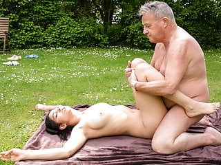 Blowjob Outdoor Big Tits video: Old Man Retires in Hot Pussy