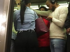 Bubble Rump Teenager Latex In Subway