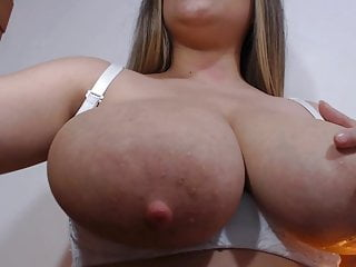 Brunette Big Tits Babe video: Lactating beauty