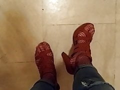 Greek Trans Cumming Outdoor (Heels, Fishnet) - sandals1love