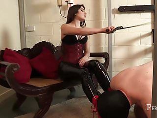 Femdom Spanking Latex video: Worship Your Mistress - Mistress allows slave lick her boots