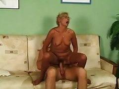 Blonde Granny in Stockings and Glasses Fucks