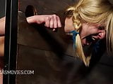Young blonde girl put in the stocks