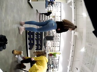 Voyeur Teen Big Ass video: Nerdy teen ass in Jean's