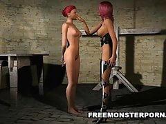 3D Lesbian Babe mit einem Strapon gefickt