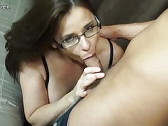 Hairy British MOM sucking and fucking young boy