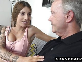 Blowjob Big Tits Skinny video: Teen with fake tits fucks her papa John