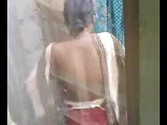 girls outside bath and dress changing