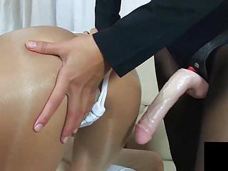Stockings Strapon Dildo video: Strapon Lesbian training