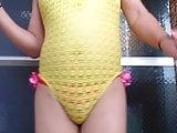 Yellow swimwear Sexy action