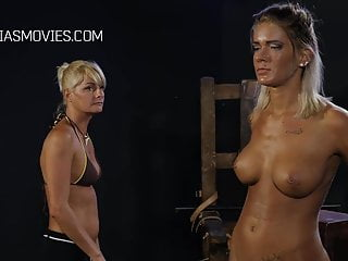 Bdsm Femdom Boobs video: Sexy blonde gets her boobs whipped