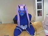 blue kigurumi devil vibrating