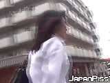 Shy Japanese schoolgirl filmed pissing loads outdoor