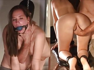 Young Slave is Tied for Anal Training with long glass dildo