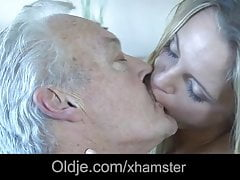 White haired grandpa fucks his dummy young maid