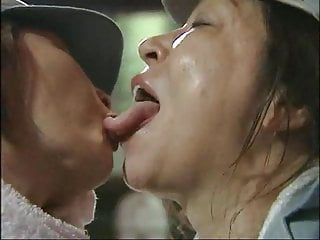 Lesbians Asian Japanese video: Lesbian Escapees Share Brief Intense Tongue Kiss