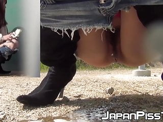 Public Nudity Asian Pissing video: Japanese women secretly taped while pissing hard