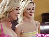 Blonde MILF Brandi Love teaches teen Bella Rose lesbian sex