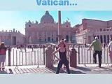 Alison Brie dancing in front of the Vatican