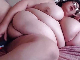 Hairy BBW Lucy with huge boobs gets orgasm