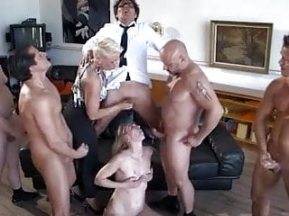 Group Sex Blondes video: Femdom bukkake orgy
