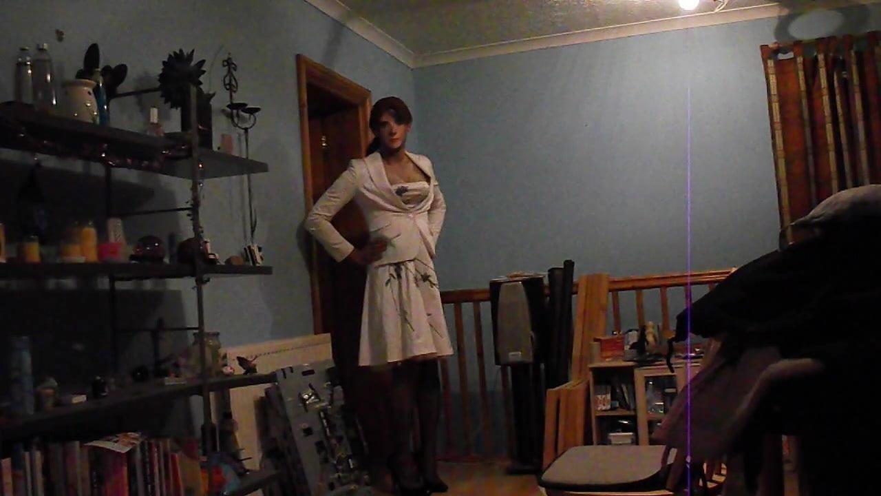 Wearing a sexy white dress