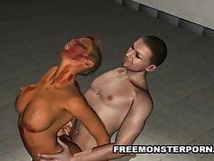 Busty 3D Zombie Babe dostane Fucked Hard