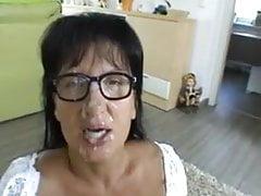Mature brunette in glasses (cum)