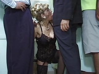 Blonde Facial High Heels video: Horny Mature Teacher - Masturbation turns into Gangbang