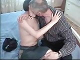 Dady seduce cute curly hair daughter with glas and fuck her
