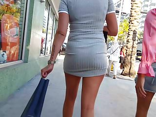 Candid voyeur pawg in tight ribbed dress great booty