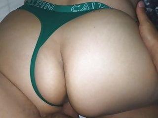 cK GREEN THONG!! sister S BIG ASS!!