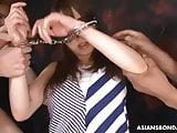 Submissive Asian woman gets humiliated and mouth fucked by d