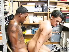 Young latino hunk cums after riding raw police BBC