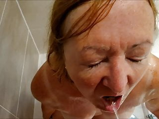 British Pov Mature video: Jonsey loves getting pissed on,then deep throats cock