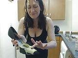 Messy custard in heels challenge