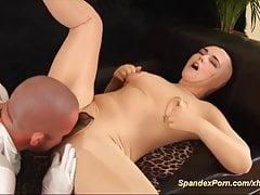 seks analny catsuit spandex z busty lalką