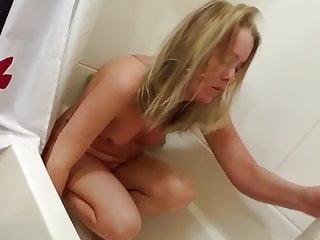 Voyeur Blonde Small Tits video: secret hidden spy cought shaving legs in shower bath