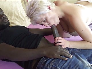 Interracial Big Cock Milf video: German Mom at Interracial Nurse Roleplay and Cum on Pussy