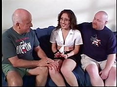 Sexy wife sucks her husband and another guys cock at the same time