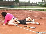 Real plumper queening her tennis trainer