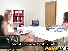 Gorgeous casting model finger fucked by lesbian agent