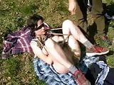 wife in a field bondaged blindfolded and fucked by