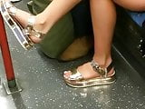 Candid feet  - American girl on Tube train