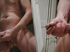Jerking in front of the mirror with cum load