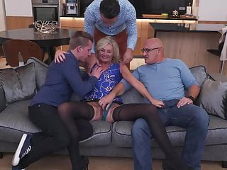 Group Sex Cuckold Blowjob video: Wife fucks in all holes in front of cuckold