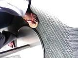 candid pretty ebony feet under table