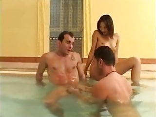 Blowjob Big Cock Kissing video: Jacuzzi Bisexual MMF Raw