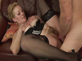 Stockings Sex Toys Dildo video: Fucking the old lady from next door