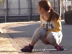 Japanese Lady Caught Pissing On Street